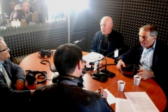 Direct broadcast studio of Radio Mary Kosovë with volunteers, President Greta , Director Don Jeton, Don Lush Gjegji and Dede Palokaj.